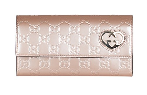 Gucci Rose Pink Heart Shaped Interlocking GG Guccissima Continental Leather Wallet