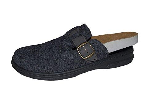 Algemare Herren Clogs Filz Pantolette Grau von Größe 41 bis 47 Wechselfußbett Grau
