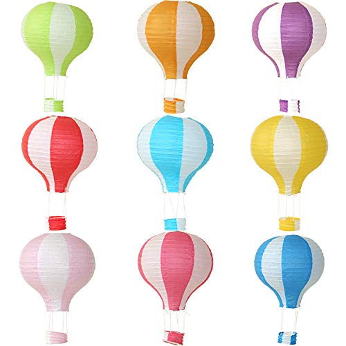 Hot Air Balloon Hanging Paper Lanterns Chinese Japanese Lantern Lamps Great for Birthday Parties, Wedding or Anniversary Decoration, 12 inch, Set of 9 -
