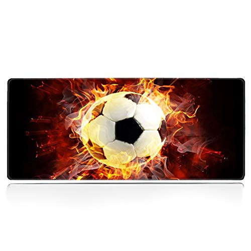 Large Gaming Mouse Pad with Stitched Edge, Fire Soccer Desk Pad XXL Mouse Pad, Office Desk Mat Non-Slip Waterproof Rubber Base Extended Mouse Mat Keyboard Pad -31.5x11.8 inches