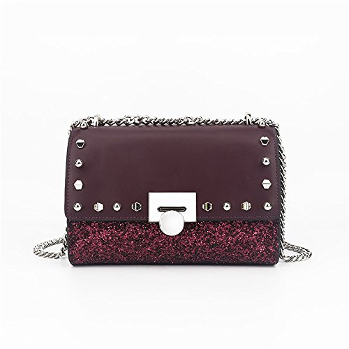 Wine Small Bag Sunbobo Simple Messenger Red Sequin Square Bag Shoulder Leather Retro taOOwdqv