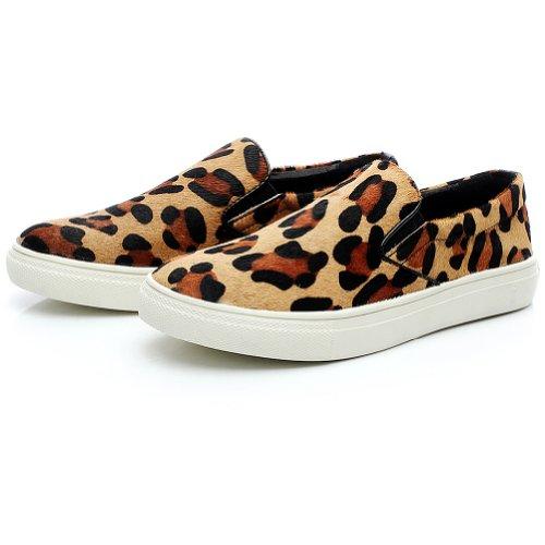 Shenn Women's Flat Heel Leopard Faux Suede Fashion Sneakers, US8.5