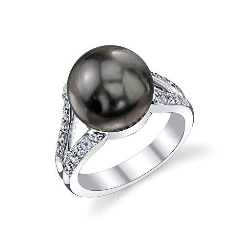 (THE PEARL SOURCE 11-12mm Genuine Black Tahitian South Sea Cultured Pearl & Cubic Zirconia Khloe Ring for)