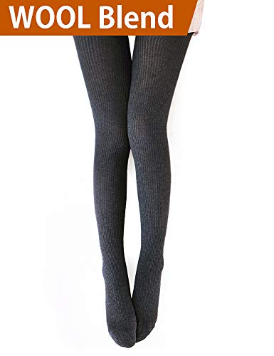 Vero Monte 1 Pair Womens Wool Blend Ribbed Tights Opaque Knit Tights (Dark Grey) -