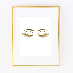 Eyelashes Eye Gold Foil Leaf Art Wall Print like Gossip Girl Fashion map Vogue Glam Girl Room Decor poster 0348