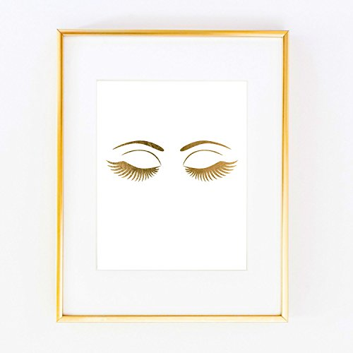 Eyelashes Eye Gold Foil Leaf Art Wall Print like Gossip Girl Fashion map Vogue Glam Girl Room Decor poster 0348