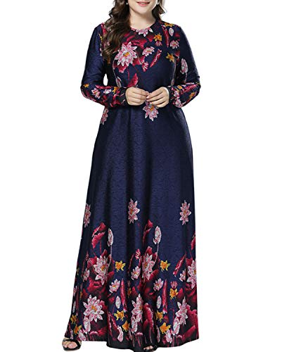 Women Muslim Abaya Kaftan Robe - Lady Plus Size Long Sleeve Knit Floral Maxi Dress Casual Arabic Gown M Navy Blue