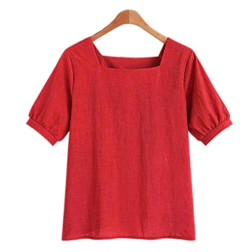 (Womens Loose Breathable Cotton Linen T Shirts Square Neck Short Sleeve Tees Summer Blouse Tops Pocciol)