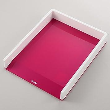 53611064 Leitz Bandeja de sobremesa WOW con combinaci/ón dual de color A4 Blanco//Verde metalizado