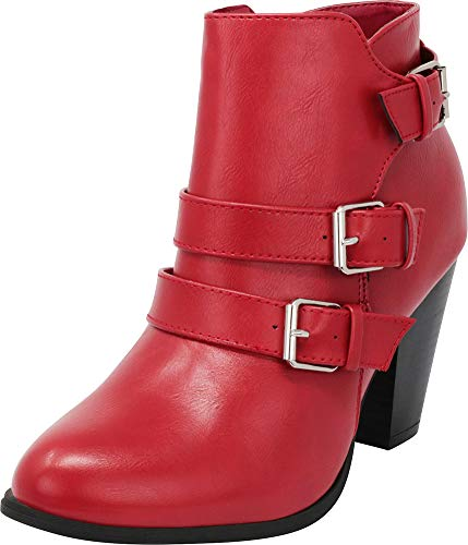 Pu Ankle Booties Women's Select Red Strap Chunky Heel Cambridge Block Buckle x4R0vnqRSw