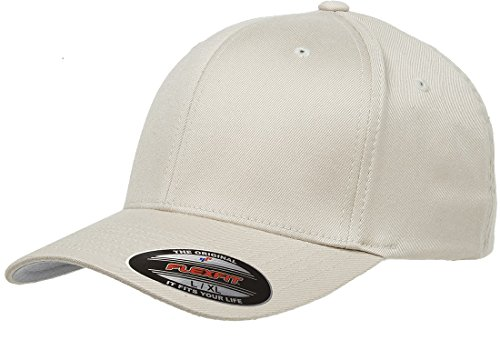 - Original Flexfit Wooly Cotton Twill Cap 6277, Stretch Fit Baseball Cap w/Hat Liner L/XL Stone