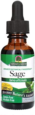 Nature\'s Answer Alcohol-Free Sage Leaf, 1-Fluid Ounce Sage Liquid Extract Gluten Free Sage Extract Supplement