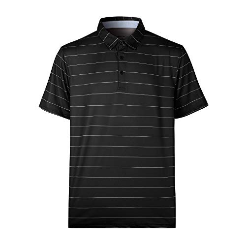 (MOHEEN Men's Short Sleeve Moisture Wicking Performance Golf Polo Shirt (Black,M))