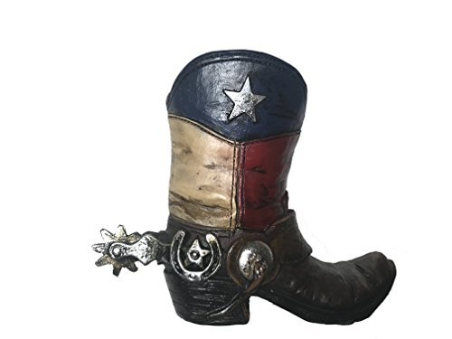 Polly House Texas Western Style Cowboy Cowgirl Texas Boot Pencil Holder Small Vase, Garden Pot, Home Decoration, Great for Gift Ideas