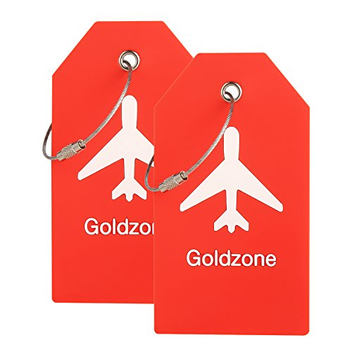 PVC Rubber Luggage Tags w/Full Privacy Flap,Great for Luggage Cases Identification by Goldzone (Red-2 Pack)