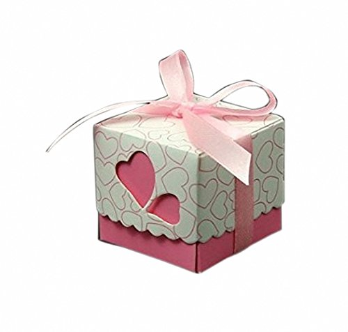 50 Pcs Pink Hollow Out Love Heart Bowknot Pattern Die Cut DIY Square Wedding Bridal Favor Candy Gift Boxes Box Wedding Party