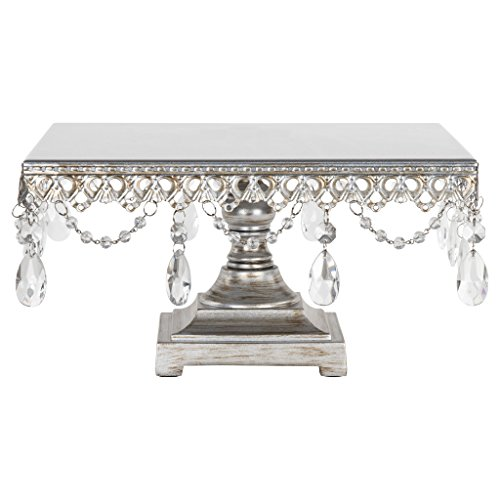 Amalfi Decor Square Cake Stand, Antique Glass Crystal Draped Metal Display Pedestal for Wedding Events Birthday Party Dessert Cupcake Plate, Anastasia Collection (Silver)