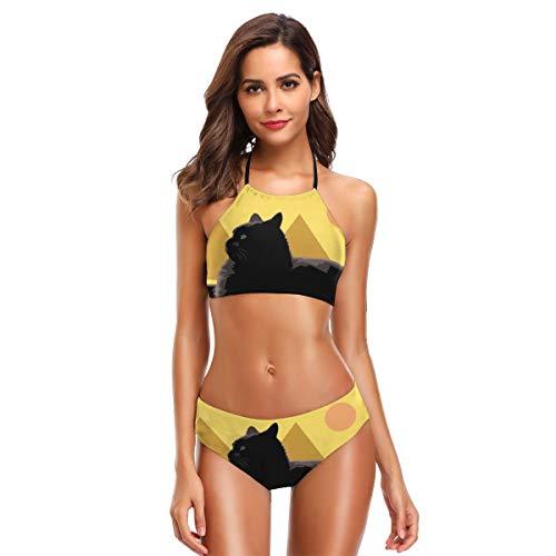 Women's High Neck Lying Black Cat Statue Pyramid Print Two Piece Swimsuit Halter Bikini ()
