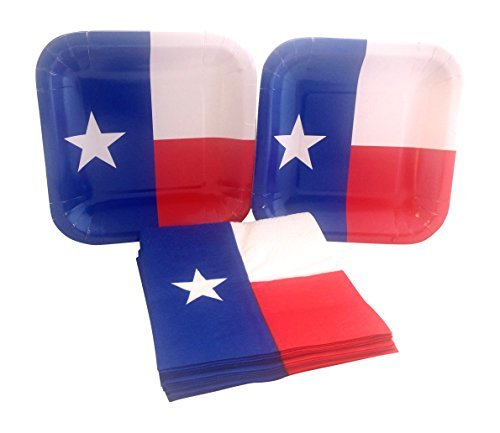 Texas State Flag Party Bundle with Paper Dessert Plates and Napkins for 16 - Party Texas Supplies