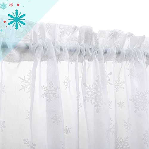 White Tier Curtains 36 inches Kitchen Curtains Winter Holiday Voile Window Decorative Curtains with White Snow Flakes 1 Pair