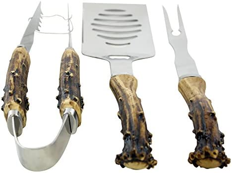 Pine Ridge Antler Handle Grilling Set for BBQ Outdoors Style Cooking and Grill, 3 Piece