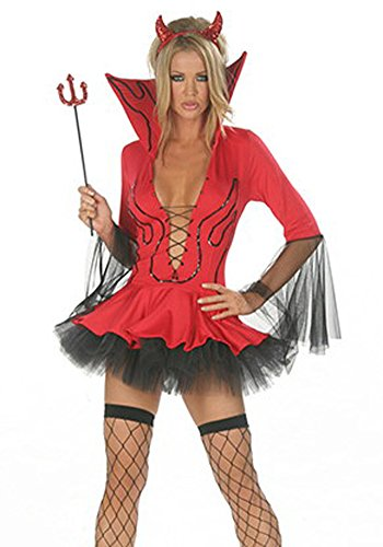 [COSIVIA Women's 3pcs Sexy Devil Halloween Cosplay Costume (Red 3)] (Sexy Devil Costumes Ideas)