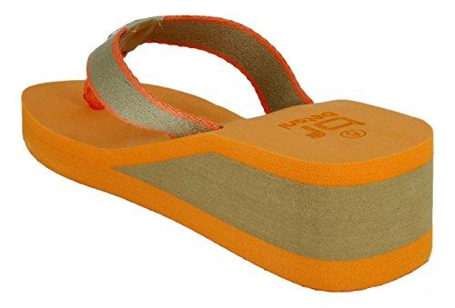 Evelyn 5 Kvinna Låg Vikt Häl Rem Flip Flop Kilar Sandalen I Blått Och Apelsin (orange, 8,5)