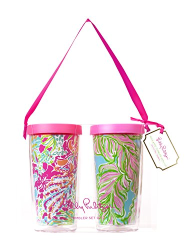 Lilly Pulitzer Tumbler - Lilly Pulitzer Insulated Tumbler with Lid Set, In the Bungalows/Spot Ya, floral pattern