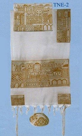 Yair Emanuel Hand Embroidered Jerusalem in Gold Tallit Set - Size: 18