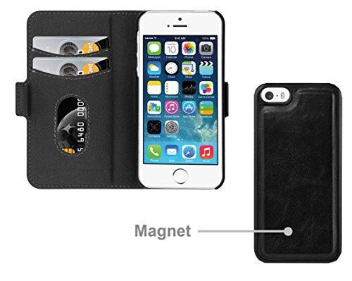 Apple iPhone 5 / 5S / SE Hülle in SCHWARZ von Cadorabo - Handy-Hülle im 2-in-1 Design mit mit herausnehmbarem Hard Cover , unsichtbarem Magnet-Verschluss , Standfunktion und Karten-Fach für Case Schut