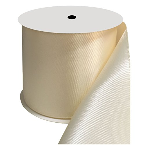 DUOQU 3 inch Wide Double Face Satin Ribbon 10 Yards Roll Multiple Colors Ivory