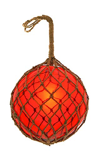 "Nautical Collection Japanese Glass Fishing Floats Assorted Colors Family Fish Net Buoys Large Set (12"" Red)"