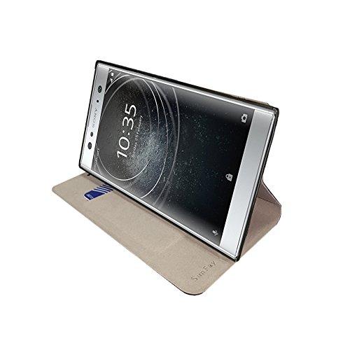Funda Sony Xperia XA2 Ultra,SunFay Cartera Carcasa Flip Folio Caja Piel PU Suave Super Delgado Estilo Libro,Soporte Plegable para Sony Xperia XA2 Ultra - Azul Gris