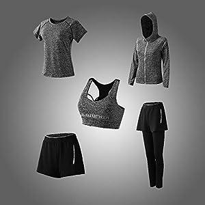 Abbigliamento Sportivo da Donna, T-Shirt 5set Suit per Sport Yoga Ginnastica Sport Include Manica Lunga e Corta, Pantaloni, Reggiseno, Morbido e Traspirante Confortevole