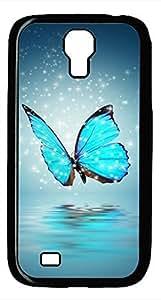 Samsung Galaxy S4 I9500 Black Hard Case - Blue Butterfly Galaxy S4 Cases