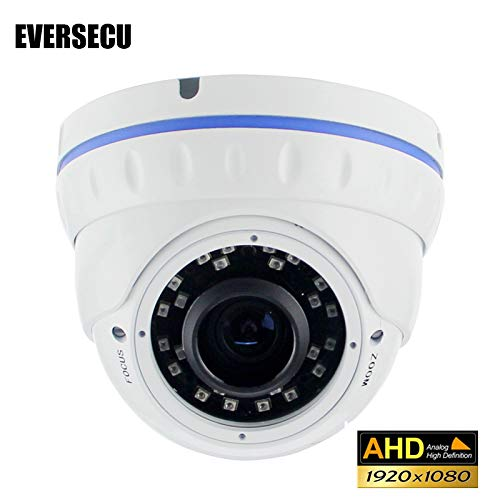 Eversecu CCTV Cameras 2.0MP 4-in-1 (TVI/AHD/CVI/960H) 1080P Outdoor Sony Sensor 2.8-12mm Varifocal Lens Vandalproof Metal Dome Camera