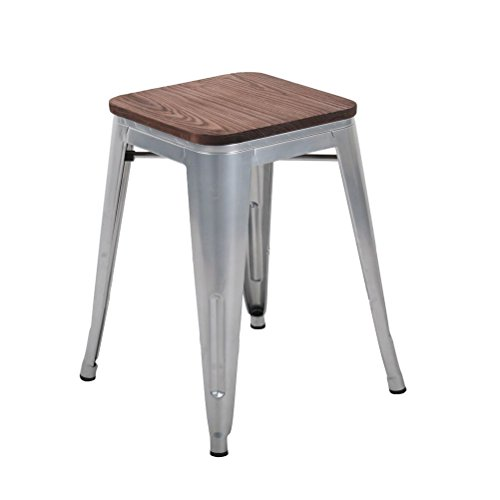 Tongli Metal Barstools Set Industrial Counter Height Stools Pack of 4 Patio Dining Chair Sliver Wooden Seat Backless 18