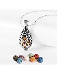 Polished Essential Oil Necklace Stainless Steel Necklace Diffuser Locket Silver Teardrop with 8 Colors Lava Beads [ Christmas Gift ]
