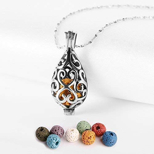 Maromalife Polished Essential Oil Necklace Stainless Steel Necklace Diffuser Locket Silver Teardrop with 8 Colors Lava Beads