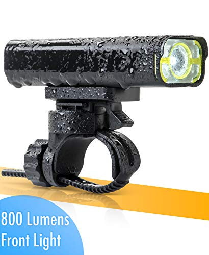 BrightRoad The Original LED Bicycle Rechargeable Headlight | 800 Lumens for a Brighter Bike Light | Wide & Long Cover Range, 85° & 650ft | IPX6 Waterproof | for Any Terrain & Weather | Bike Lights