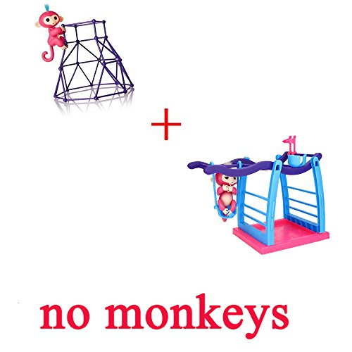 Set Of 2 Interactive Finger Baby Monkey Playset Climbing Stand   Jungle Swing For Finger Baby Monkey