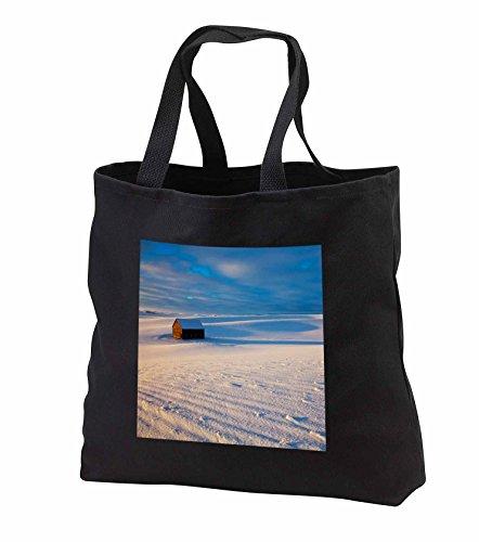 Price comparison product image Danita Delimont - Barn - Idaho, Small Barn in snow covered field - Tote Bags - Black Tote Bag 14w x 14h x 3d (tb_250807_1)