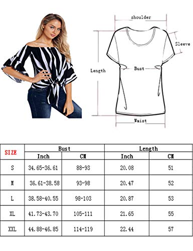 RSM &CHENG Women\'s Striped Off Shoulder Bell Sleeve Shirt Tie Knot Casual Blouses Tops(Stripe Blue,S)