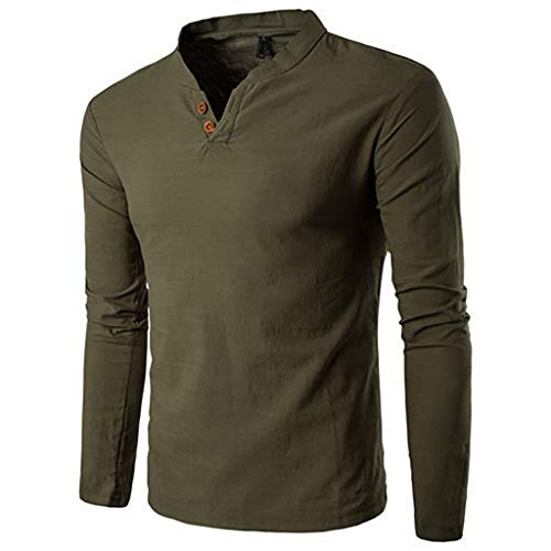 Price comparison product image Men Handsome Autumn Winter Casual Splicing Button Long Sleeve V Neck T Shirt Man Top Pullover (X-Large,  Army Green)