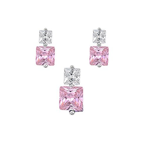 Sterling Silver Luxurious Pink Simulated Princess Cut Earrings and Pendant Set on Tension -