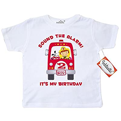 Inktastic Little Boys' Fire Truck 2nd Birthday Boy Toddler T-Shirt