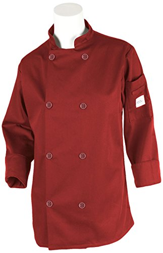Mercer Culinary M60020RDXS Millennia Women's Cook Jacket with Traditional Button, X-Small, Red (Traditional Ladies Chefs Jacket)
