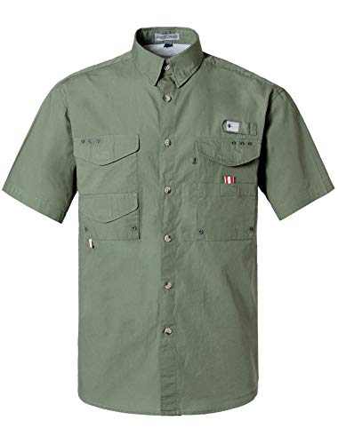 Alimens & Gentle Short Sleeve Wicking Fabric Sun Protection Fishing Casual Shirts - Color: Dark Green, Size: 2XL-Tall
