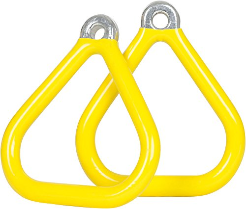 Swing Set Stuff Commercial Coated Triangle Trapeze Rings with SSS Logo Sticker, Yellow Swing Set Stuff - DROPSHIP SSS-0017-Y