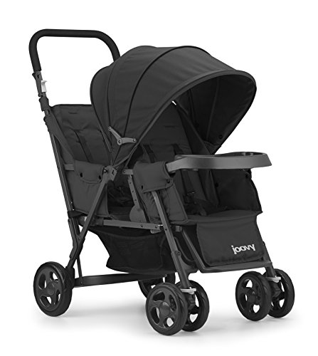 JOOVY Caboose Too Graphite Stand-On Tandem Stroller, Black (Best Stroller For Older Kids)
